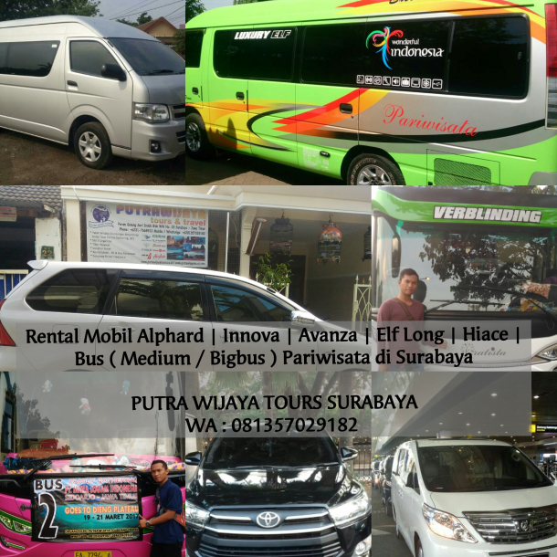 WA : 081357029182 | Rental Mobil Murah Terpercaya, Amanah & Profesional di area Surabaya – Mojokerto – Sidoarjo – Lamongan – Gresik Jawa Timur. Sewa Mobil Alphard | Isuzu Elf Long | Toyota Hiace | Avanza | Innova | Daihatsu Xenia | Luxio | Suzuki APV | Big Bus Pariwisata | Medium Bus Pariwisata