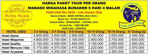 Harga Paket Tour Manado Minahasa Bunaken 5 Hari 4 Malam